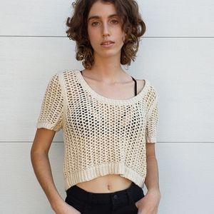 Free People Crop Crochet Sweater Top Cream Medium